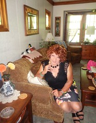 A Final Pic Before Heading Out (Laurette Victoria) Tags: sofa woman laurette skirt curly redhead