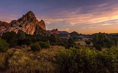 Late July Sunrise (raymond.longtin) Tags: garden gods sky sunrise color green red rocks colorado springs