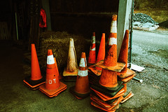 (rafalweb (moved)) Tags: orange cones mundane composition color canon eos 7d ef 50mm filmemulation feelslikefilm