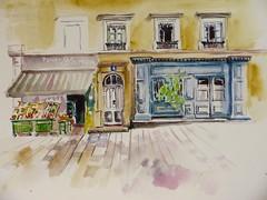 La petite épicerie du 4 place St Irénée (geneterre69) Tags: aquarelle watercolor epicerie vitrinebleue étalage commerce