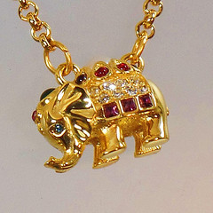 Elephant Necklace. Joan Rivers Necklace. Vintage Necklace. Rhinestone Necklace. Swarovski Necklace. waalaa. Necklaces for Women. (waalaa) Tags: etsy vintage antique shopping jewelry jewellery gifts wedding