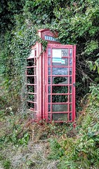 Call of the Wild (Jon_Wales) Tags: telephonebox derelict aged vintage gpo bt red foliage