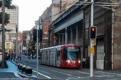 Sydney Light Rail - Dusk and LRV2121 drifts down Hay Street_ (john cowper) Tags: sydneylightrail caf urbos3 lrv2121 haystreet darlingdrive haymarket publictransport sydneypublictransport transportfornsw sydney newsouthwales
