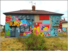 Graffiti Artwork on Two Houses ... (** Janets Photos **) Tags: uk hull councilestates graffiti artworks colours