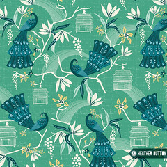 Aviary (hangtightstudio) Tags: design designer surfacedesign surfacepattern patterndesign textiledesign surfacepatterndesign printpattern fabricdesign birds peacock chinoiserie create dowhatyoulove spoonflower artlicensing heatherdutton hangtightstudio fabric wallpaper giftwrap vintagestyle