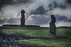 Ahu Tahai and Ahu Ko Te Riku Moai at Sunset Hanga Roa Easter Island Chile 02 (Barbara Brundage) Tags: ahu tahai ko te riku moai sunset hanga roa easter island chile 02