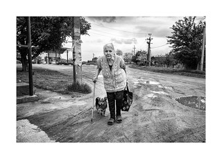 Old woman with a dog
