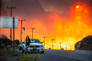 California Wildfires Model Photoshoot! Red Sun Smokey Haze California Fires! Venus Swimsuit Bikini Model Goddess! Bless Brave Firefighters! Nikon D800 E & AF-S NIKKOR 70-200mm f/2.8G ED VR II! Cali Wild Fire Surreal Black Smoke Clouds Burning Landscape