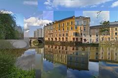 Les mille facettes du Gagne-Petit (Tonton Gilles) Tags: alençon normandie gagnepetit compilation kaléidoscope rivière sarthe reflet assemblage paysage urbain