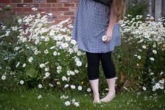 Day 111, Year 10. (evilibby) Tags: 365 36511 365days 365days11 libby feet mas garden blonde gingham ginghamdress flowers summer brickwall grass outside outdoors