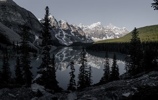 Reflecting on the beauty of the Canadian Rockies, Moraine Lake exhibits it's grandeur.