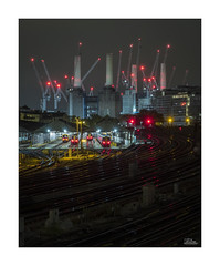 Battersea Power Station (JRTurnerPhotography) Tags: fujifilm fuji fujixt2 xt2 fujifilmxt2 jrturnerphotography jaketurner fujinon1655mmf28 fuji1655mm fujinonxf1655mm zoomlens photo photography photographer photo24 london england uk unitedkingdom greatbritain britain british gb europe city capitalcity cityscape building architecture urban summer june 2018 night dark darkness cranes battersea batterseapowerstation powerstation construction railway railyard trains battersearailyard railwaytracks starburst