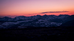 Purple Mountain Majesties (San Francisco Gal) Tags: bluehour sunset mountain neversummermountains snow specimenmountain trailridgeroad colorado landscape purplemountainmajesties americathebeautiful