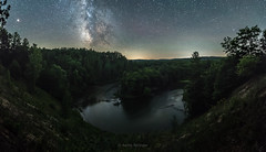 Ambien (Aaron Springer) Tags: michigan northernmichigan manisteeriver woodland forest milkyway stars panoramic nightphotography
