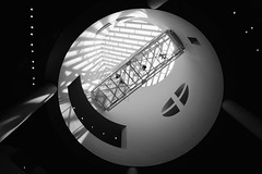 Suspended (RonP2017) Tags: abstract museum bw sanfrancisco art blackwhite architecture blackandwhiteonly skancheli