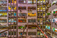 Hong Kong apartment at Nathan Street (Sander Pot) Tags: blauw hongkong building apartment appartement flat skyscraper china houses floors guesthouse guesthouses windows curtains airco airconditioner nikon d850 tamron