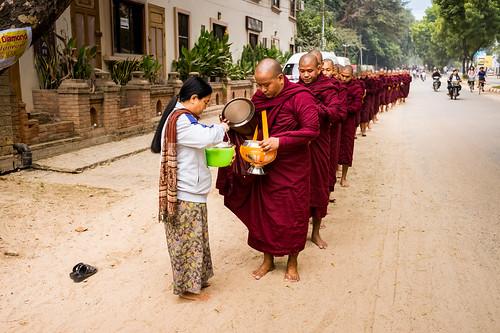 Myanmar (Burma)/ Bagan: Alms