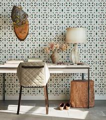 Wasp Nest (Heath & the B.L.T. boys) Tags: office desk chair stump wallpaper tablelamp neutral