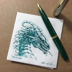 Small green dragon (schunky_monkey) Tags: penandink ink pen fountainpen drawing draw sketching sketch napkin napkinsketch illustration art fantasy firebreather beast creature mythical dragon