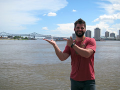 Nate holding a cruise ship (pr0digie) Tags: neworleans nate downtown city cityscape mississippi river bridge