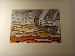 Pure Genius.  A boat on the Dart (jeffhill6) Tags: totnes riverdart boat abstractart architecture peninkandgraphite acrylicink drawing art