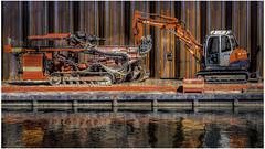 Excavator / Equipment (Luc V. de Zeeuw) Tags: excavator float pond pontoon water wageningen gelderland netherlands