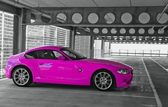 Pink car. circles and lines (LJLJ83) Tags: pink car neon fluorescent rare unique unusual sports solo carpark black white colour bw coupe bmw single girls bright light 2 seater barbie women girly hot wheels circles lines
