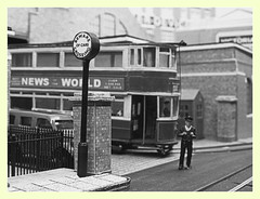 Beware of cars crossing (kingsway john) Tags: london transport model tram layout oo gauge 176 scale kingsway models e1 depot