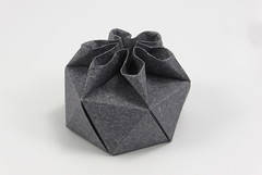 Wedge Flower Box (hexagonal) (Michał Kosmulski) Tags: origami box hexagon hexagonal flower wedge triangle michałkosmulski kheperapaper grey gray