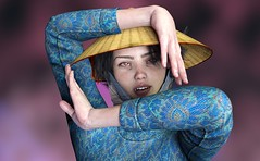 Photoshoot with Ngoc (foto_morgana) Tags: 3drendering 3dcharacters 3dhumanmodels 3dmodeling computergeneratedimagery unbiasedgprendering nvidiairayengine render rendering 3dimensionalart dazstudio50 3dsoftware photorealisticimagery on1photoraw2018 cgi imagery digitalart illusions personality character physiognomy portrait portraiture headshot fullfaceview virtualart virtualworld virtualwoman asianwoman vietnamesewoman girl cutegirl prettygirl topmodel supermodel face lady stunningbeauty sultrygirl bombshell gorgeousgirl exoticbeauty eyelevelview attractivegirl sensual paleskin freckledskin freckledface freckles photoshoot amazingmodel talent mannequin posing conicalhat
