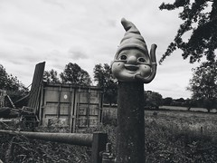 a happy warning (Pea Jay How) Tags: bw blackandwhite monochrome mono weird weirdness happy warning welcome countryside country rural gate fence fencefriday hff
