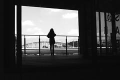 In front of the glass barrier (pascalcolin1) Tags: paris13 femme woman barrier barriere verre glass ombres shadows lumière light ciel sky reflets reflection seine vitre photoderue streetview urbanarte noiretblanc blackandwhite photopascalcolin 50mm canon50mm canon