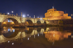 Ponte Sant'Angelo (neoBIT) Tags: 2ndcentury angel angels architecture art atmosphere bridge building capital castel cityscape cultural dusk evening illuminated light mausoleum mood night outdoor renowned river sculptures stone cittadelvaticano lazio italy ponte wife