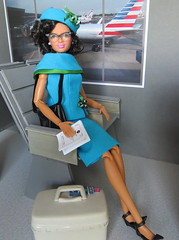 10. Katherine Johnson (Foxy Belle) Tags: doll katherine johnson made move rebodied redressed science nasa celebrity dollhouse miniature diorama airport work barbie uniform vintage gray american airlines business playscale ooak 16 scale 1960s
