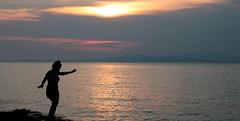 Run Freedom Run (benjamin.t.kemp) Tags: sunset silhouette colours colors colorsinourworld croatia run dance serene landscape water sea sky