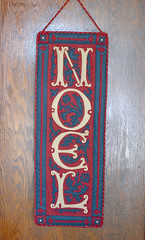 Noel banner made with red, navy blue and khaki felt appliqué (kizilod) Tags: wallhanging holiday banner noel christmas felt applique appliqué sewing