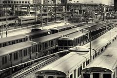 Railyard--Mono (PAJ880) Tags: rail yards red line subway cars cabot mbta mass bay transportation authority infrastructure
