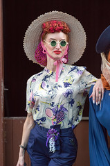 Party girl (f22photographie) Tags: candidphotography 1940sweekends blackcountrylivingmuseum fancyoutfit vintageclothing people portrait hats sunglasses blouse hair hairnet glamour glamorouswomen