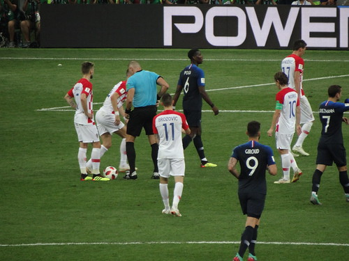 Croatia begin to prepare to take the free kick from which they equalise in the World Cup Final