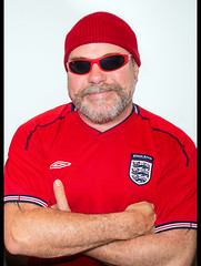 England. (CWhatPhotos) Tags: cwhatphotos itscominghome england world cup come football red man male sunglasses sun glasses shades smile smiles happy fun prime lens 17mm photographs photograph pics pictures pic picture image images foto fotos photography artistic that have which with contain epl8 pen olympus esystem four thirds digital camera m43 portrait