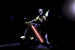 Hey man.  Wanna join? (MayorPaprika) Tags: canoneos50d 16 custom diorama toy story paprihaven action figure set sideshow asajjventress sith starwars clonewars vespa lightsaber daredevilsindy dds