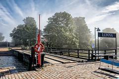 Brume matinale sur Lonna (Lucille-bs) Tags: europe finlande lonna île suomenlinna bouée ponton jetée panneau brume matin arbre helsinki