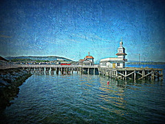 Dunoon Pier (Rollingstone1) Tags: dunoon scotland pier sea sky buildings structures victorian wooden outdoor marine maritime water colour art artwork landscape seascape building structure