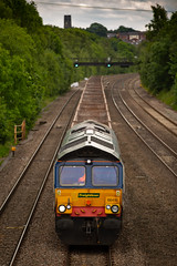 9Y0A4595 (kevaruka) Tags: tupton bridge derbyshire chesterfield erewash countryside summer 2018 june colour colours england class 56 50 20 grid hoover choppers 56103 canon eos 5d mk3 70200 f28 is mk2 ef100400 f4556l 5d3 5diii trains telephoto british rail network heritage historic locomotive composition outdoors yellow grey orange blue railway flickr thephotographyblog front page railroad tree forest train car grass class66 shed freightliner