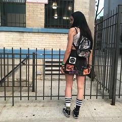 Neon Cyber Goth Thraxx DIY Patch Mini Skirt (back) (leannaperry) Tags: leannaperry design designer brooklyn newyork ny streetstyle street fashion diy custom patches graphicdesign illustration denim garment punk doityourself crust goth gothic emo girl styling teen art artist