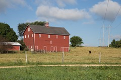 Built long before the transmission line (cedarspider) Tags: grass field transmission line barn red sky summer electrical poles black cow cattle angus fence farm