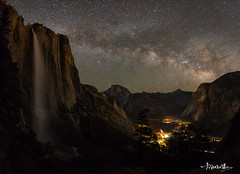 Milky-Way Over Yosemite Fall and Valley (Shi Yu) Tags: california milkyway yushiphotography nightphotography shiyuphotography night yosemite places sunstonephotography nationalparks