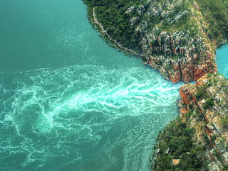 An aerial view of the Horizontal Falls