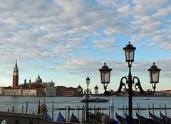 Typical Venice (Shahrazad26) Tags: venetië venice venezia venedig sangiorgiomaggiore gondels gondolas streetlamp lantaarnpaal wolken clouds italië italy italien italia