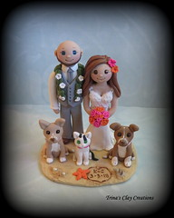 Beach Theme Wedding Cake Topper (Trina's Clay Creations) Tags: art sculpture weddingcaketopper wedding whimsical weddingcake weddingdecor caketopper customcaketopper clayfigure claycaketopper trinasclaycreations trinaprenzi topper groomscake polymerclay personalized beach beachwedding dog cat